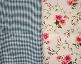 Fat Quarter Bundle, Plaid and Floral, 100% Cotton Fabric, Two Fat Quarters, 18in x 22in; Quilting Fabric, Quilt Pieces, Fabric Destash