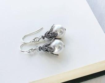 White Pearl Dangle Earrings, Vintage Style Crystal Pearl Drop Earrings, Bridal Wedding Pearl Earrings