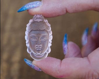 Rose Quartz Quan Yin Carving/ Crystal Quan Yin Carving/ Quan Yin pocket stone