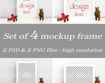 Set Styled Stock Photography Boy Room Bear Airplane Nursery Mockup Download Frame Bundle Empty Art Frame Product Digital Background Object