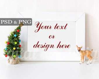 Styled Stock Photography Baby Deer Christmas Tree Horizontal Mockup Download Frame Empty Art Frame Product Digital Background  Photo
