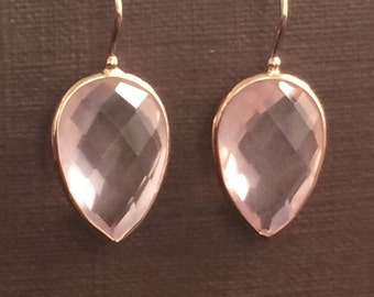 14k solid rose gold and pink quartz  earrings, pear shaped , gemstone earrings, special price