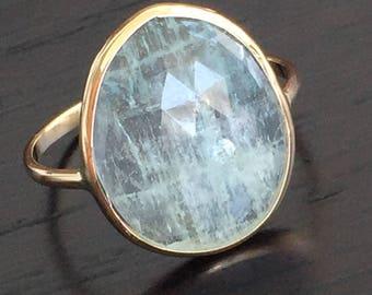14k solid yellow gold and raw aquamarine ring, rose cut, one of a kind, moss aquamarine, free form aquamarine