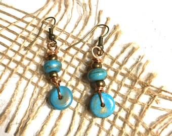 Blue Howlite Earrings - Blue Earrings - Dangle Earrings - Everyday Earrings -  Gift for Her - Handmade - Turquoise Howlite  - Stone Earrings