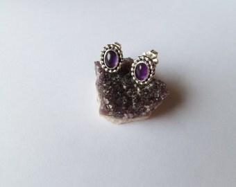 Purple Paisly Amethyst Studs