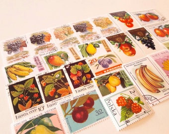 25 Fruit postage stamps - exotic and colorful