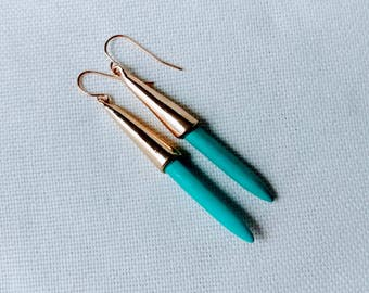 Turquoise Drop Earrings. Boho Jewelry. Fishhook Eearings. White and Gold Drop Earrings. Blue and Gold Drop Eearings. Hippy Earrings.
