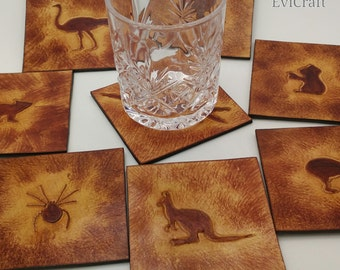 Australian animals leather Mug Coaster, home decor, gift, wombat kangaroo emu spider dingo dog echidna kiwi bird crocodile tasmanian devil