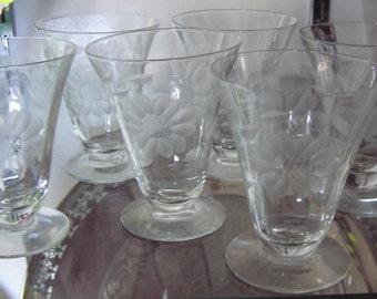 set/6 W.J. Hughes Cornflower Elegant Glass Parfait / Juice Glasses