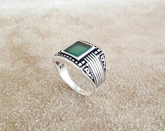 925 Sterling Silver Men Ring, Green Agate  Gemstone, Ivy figure, Handmade