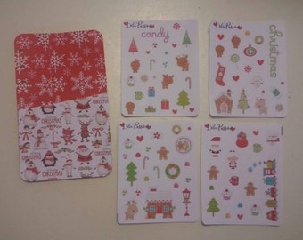 Christmas planner-cut 4 sheets stickers set cardboard and Pocket chart
