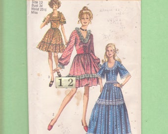 1970s Dirndl Square Dance Dress Costume Sewing Pattern/ Simplicity 8875 low cut fitted bodice long Ruffled full skirt dress/ Size 12 Bust 34