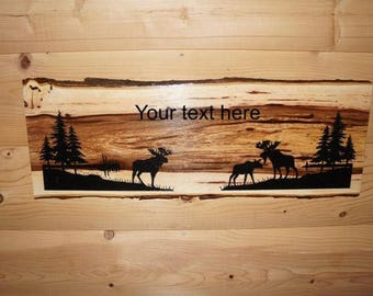 Moose Sign, Moose Decor, Rustic Moose Sign, Personalized Live Edge Hickory Wood Moose Sign, Wood Sign, Rustic Sign,  Engraved Sign