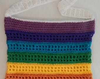 SALE Love Wins Rainbow Crochet Beach Bag