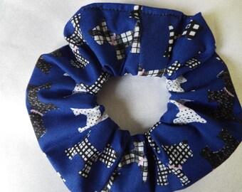 Blue scottie dog hair scrunchie