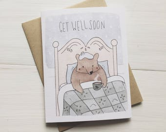Get Well Soon Bear - Thinking of You, Get Well Card, Get Well Soon Card, Get Well Soon Gift, Sympathy Card, Encouragement Card, Cheer up