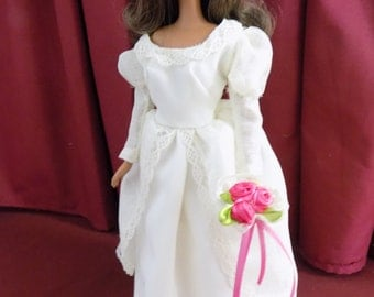 Value IVORY Wedding Dress, Veil and Bouquet fits Barbie and other 11.5 in fashion dolls