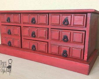 Large Red antiqued vintage wood jewelry box with drawers and music box