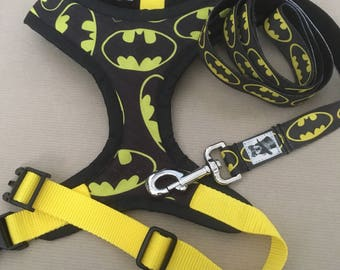Handmade pet harness batman made to order lead available