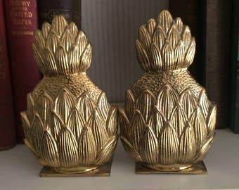 Rare Cast Brass Pineapple Bookends Mid-Century Modern  Gilt