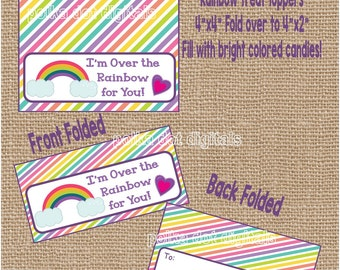 Rainbow Valentine Treat Bag Toppers * Set of 4 * Printable Instant Download * Kids Party Cards