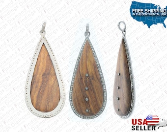Pave wood Pendant, WOOD and DIAMOND Pear Shape Pendant in 925 Silver with WOOD and Natural Single Cut Diamonds, Wood Findings