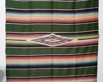 "Antique Serape - Vintage 1920-30s Mexican Saltillo Serape - 42""X78"" with 5"" Fringe"