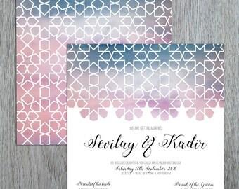 Oriental watercolour wedding invitation, Geometric design watercolor, islamic geometric