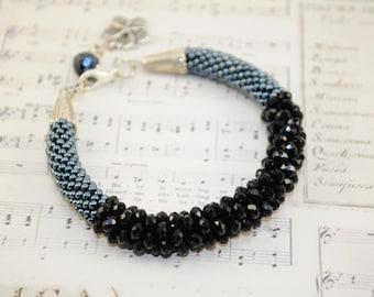 Black bracelet girlfriend valentine crystal beads black gift for her Beaded bracelet Charm bracelet Seed bead bracelet handmade jewelry
