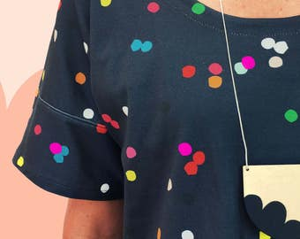 Navy Confetti Organic Cotton Jersey with Sleeves Top
