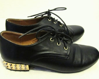 Women's Vintage 90's Black G0TH era Shoes With Gold SPIKES On the HEELS by QUPID.7