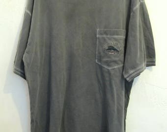 A Men's Grunged Vintage 90's,Gray Short Sleeve TOMMY BAHAMAS Relax,Pocket T -Shirt.XL