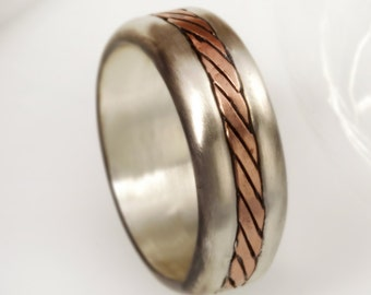 Mens Wedding Band, Rustic Wedding Ring, Rustic Ring, Mens ring, Copper Ring, 8 mm rustic ring, Sterling Silver and Copper,  RS-1166