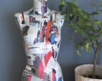 Collage large bust newsprint to red trend