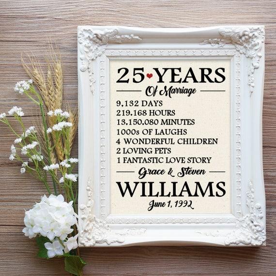 Favorito 25 anni di matrimonio stampa 25 regalo di anniversario di JC64