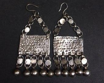 Egyptian  Zar earrings - silver - vintage collector's item - bellydance - bedouin