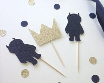 Wild One Cupcake Toppers - First Birthday Party Theme - Crown - Glitter Topper  - tribal
