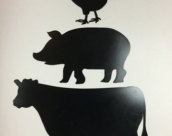 Metal Farm Animal Cut Out Kitchen Sign - Wall hanging 3 pc. set - Cow, Pig, and Chicken
