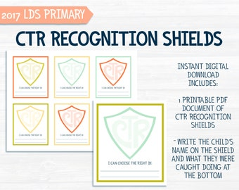 CTR Spotlight Recognition Shields - for 2017 LDS Primary theme