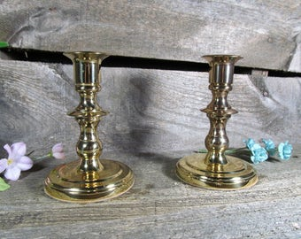 Baldwin Brass Candlestick Holders Set of (2) Vintage Home and Farmhouse Decor, Brassware and Table Decor,Vintage Candle Holders