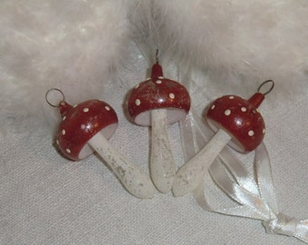 In the mushrooms... ~ set of 3 antique vintage glass earrings toadstools