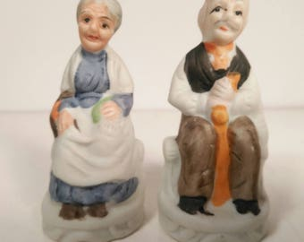 Vintage Ceramic Hand Painted Elder Couple Figurines Set