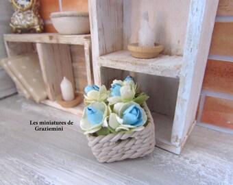 Braided basket miniature-scale 1:12-Dollhouse miniature