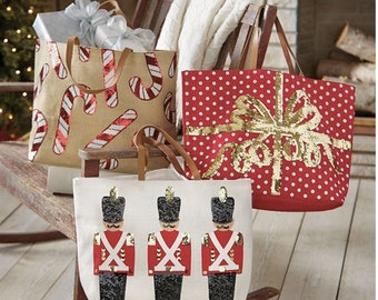 Christmas Dazzle Jute Tote Bags ~ Christmas totes