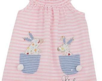 Bunny Pocket Dress ~ Mud Pie Easter Dress ~ Girls Easter Dress ~ Monogrammed Easter
