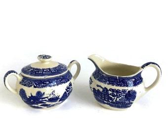 Blue and White Ceramic Sugar and Creamer Set Asian Motif