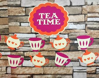 Tea Party Garland, Tea Time Garland, Tea Garland, Tea Time Sign