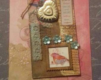 Believe you can OOAK handmade tag Greeting Card, shabby chic, vintique, bird, heart