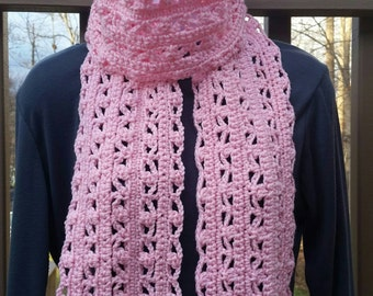 Cotton Candy: Hand Knit Chunky Pink Scarf