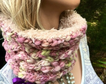 Hand knit cowl, hand spun yarn cowl with fur, furry cowl, beautiful cowl, light pink and cream furry cowl, wow cowl, reversable cowl